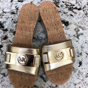 Michael Kors Gold Slides size 7 1/2 worn once